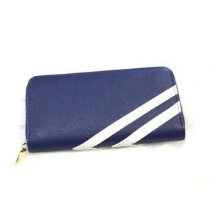 Navy and White Faux Leather Wallet (7.5x1x4 in)